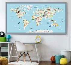 Large Animal World Map Kids World Map Poster Nursery World Map
