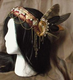 Tribal Fusion Belly Dance Headpiece Gilt by siphonophoria on Etsy, $90.00