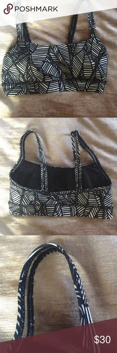 Lulu lemon Sports bra White and black pattern. Black mesh in the straps. lululemon athletica Intimates & Sleepwear Bras