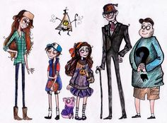 Tim Burtonned Gravity Falls Characters by La-Chapeliere-Folle