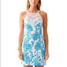 "NWT Lilly Pulitzer Pearl Shift on ""Back It Up"" New with tags! Beautiful Lilly Pulitzer pearl shift in ""back it up"". Print is blue ostriches! offers welcome, cheaper on merc. Size four. Lilly Pulitzer Dresses"