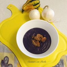 Vellutata di patate viola e funghi! Ricetta sul blog: https://cucinareconpaola.blogspot.it