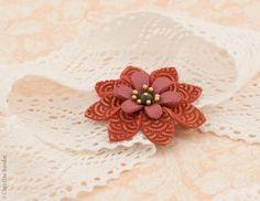 Red Flower Brooch  Autumn Jewelry Fall by PaciorkyArtStudio, $15.00
