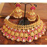 Beautiful 1gm Goldplated Ruby Bridal Choker Set With Huge Jhumkkas-dj00325