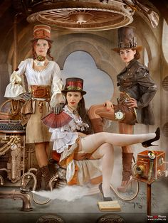 steampunk three galls looking brutal sexy and hot under their hats