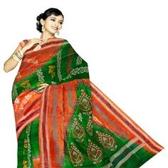 UNM4437-Marvelous traditional green and orange handloom pure Bengal silk half and half saree with blouse