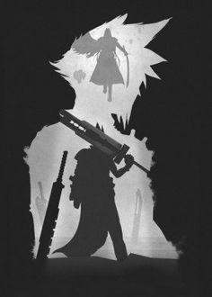 game games gamer video room final fantasy sephirot cloud strife swords dark darkness black white