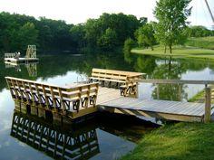 Backyard pond with pier