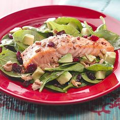 Balsamic-Salmon Spinach Salad Recipe -This Balsamic-Salmon Spinach Salad is really healthy and a cinch to make after a hard day of work. —karen1969, Tasteofhome.com Community