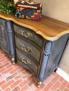 Gray & Gold Statement Buffet Sideboard A personal favorite from my Etsy shop https://www.etsy.com/listing/594381447/gray-buffet-console-dresser-furniture