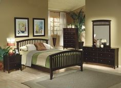 5PCS Contemporary Cappuccino Finish Queen Size Bedroom Set:  #bedroom #beds - See a wide selection of beds and bedding