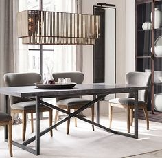 One of my favorite tables and chairs. Elegant yet simple. Torano Marble Rectangular Dining Table