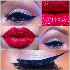 We love this party look - statement winged liner and sparkly bright red lips. Team with Rock Star nails...x