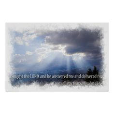 Psalms 34:4 on light print from Scripture Classics #zazzle #gift #photogift #Christian
