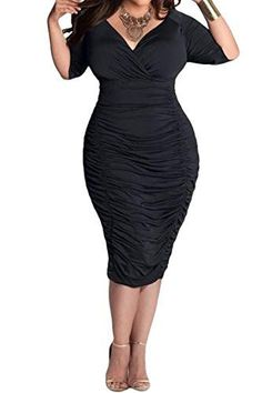 Women Plus Size Deep V Neck Wrap Ruched Bodycon Dress 3da5eba41194