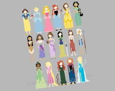 Disney Princess and Heroines Cross Stitch PATTERN - PDF Instant Download