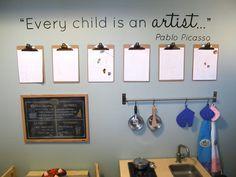 Clipboard art wall with Pablo Picasso quote. Classroom Displays, Classroom Decor, Reggio Emilia Classroom, Reggio Classroom, Classroom Furniture, Art Wall Kids, Art For Kids, Kids Artwork, Wall Art