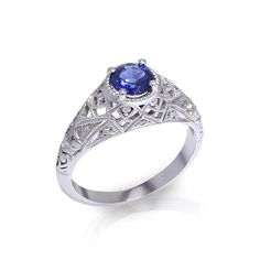 If you love vintage jewelry, you may be inspired by the filigree sapphire ring created by the artisans at Jewelry Designs in Danbury, CT. Opal Rings, Silver Rings, Sapphire Jewelry, Boho Necklace, Filigree, Vintage Jewelry, Artisan, Jewelry Design, Engagement Rings