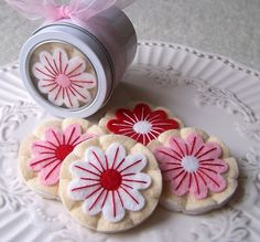 Felt Play Food - Gourmet Holiday Flower Iced Sugar Cookies