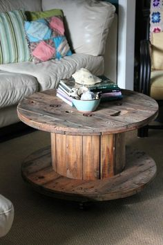This was our coffee table growing up (without the wheels) my mom was years ahead of pinterest!! Use bigger ones for outdoor table, smaller ones for end tables. White wash for shabby chic, modernize with glass top, and place books around bottom for maximum storage use!! diy-s-i-want-to-try