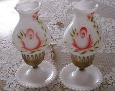 fenton canister sets | Vintage Milk Glass Lamps Hobnail Ha ndpainted Floral Lamps ...