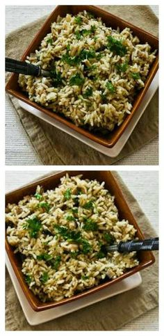 World's easiest side dish!  This Slow Cooker Rice with Dried Mushrooms, Herbs, and Parmesan from Kalyn's Kitchen cooks in a few hours while the cook is doing other things!  [via Slow Cooker from Scratch] #SlowCooker  #Rice  #GlutenFree