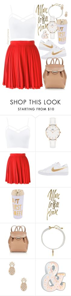 """""""Buenas diaz"""" by cherrysnoww ❤ liked on Polyvore featuring Charlotte Russe, Daniel Wellington, Versace, NIKE, ban.do, Alexander Wang, Vanessa Mooney, Sole Society, Vintage Marquee Lights and plus size clothing"""