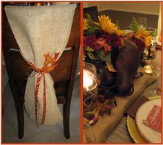 Thanksgiving Dining Table and Chair Decor - burlap with Christmas ribbon @ Christmas.