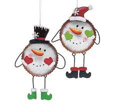 "#burtonandburton Hand-painted tin bottle top snowman ornaments.9 1/2""H X 6""W X 1/2""D.4 assortments of 2."