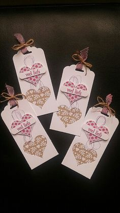 Stampin Up labels: heart punch, tag topper punch
