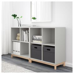 EKET Cabinet combination with legs, white. With EKET series you can build your storage big, small, colourful or discreet to either display or hide your things. And if your space and needs change, you can easily change your EKET solution too. Ikea Storage, Storage Spaces, Vinyl Storage, Hallway Storage, Storage Cart, Hidden Storage, Toy Storage, Bedroom Storage, Ikea Eket