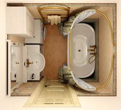 Разворачиваем ванну. Размещаем стиральную машину в маленькой ванной