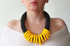 Chunky Necklace, Tribal Necklace, Ethnic Jewelry, Bold Necklace, Yellow necklace, Original Jewelry