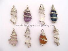 Coiled Agate & Quartz Crystal Pendantshttp://www.wholesaleperuvianjewelry.com