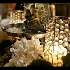 Bartender tips. Glass decorations.Wedding details. Unique and beautiful details for this wedding reception!