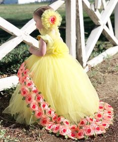 Rowan looks stunning in yellow Gowns For Girls, Frocks For Girls, Kids Frocks, Girls Dresses, Girls Party Dress, Little Girl Dresses, Baby Dress, Frocks And Gowns, Flower Girl Gown