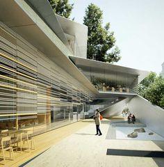 Façade sud du nouveau musée Albert-Kahn, rue du Port : jardin intérieur…