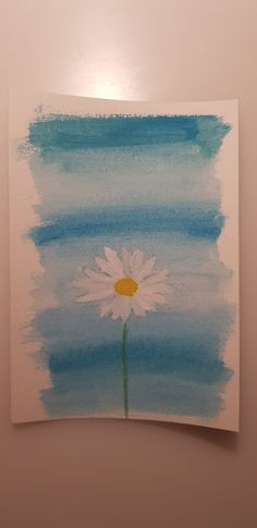 White flower with blue background made with watercolors. Blue Backgrounds, Watercolor Flowers, White Flowers, Watercolors, Drawings, Painting, Art, Frames, Watercolor
