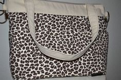 Diaper Bag in Animal Print Purse on Upholstery weight Canvas with eco cotton interior, slouch, messenger, by Darby Mack via Etsy