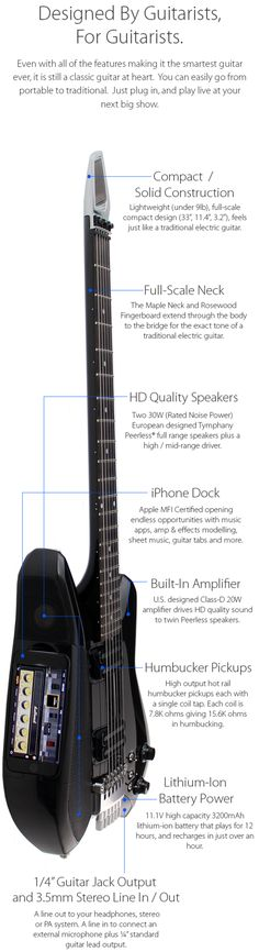 Fusion Guitar: iPhone Integration, Amp & Speakers | Indiegogo - <3'd by Stringjoy Custom Guitar & Bass Strings. Create your custom set today at Stringjoy.com #guitar #guitars #custom #music