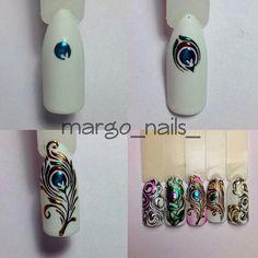 Blue nails with flowers, Easy nail art designs for beginners. Gel Nail Art, Easy Nail Art, Acrylic Nails, Nail Polish, Marble Nails, Coffin Nails, Hair And Nails, My Nails, Peacock Nails