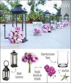 Wedding aisle ceremony decor: Purple peonies and orchids in lanterns and vases to line your wedding aisle. Find high-quality silk flowers, lanterns, vases, sand, starfish and more for your DIY wedding at Afloral.com