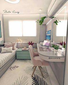 172 cozy teen girl bedroom design trends for 2019 33 Small Room Bedroom, Teen Bedroom, Small Rooms, Master Bedroom, Dorm Room, Bedroom Mirrors, Tiny Bedrooms, Bedroom Office, Guest Bedrooms