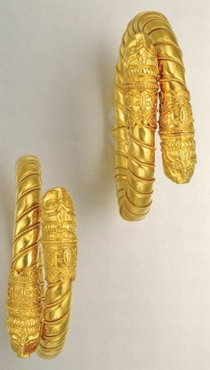 Pair of High Karat Gold Bangles 22 kt., maker's mark for Lalaounis & signed Z for Zolotas, Greece, ap. 55.4 dwt. Inner cir. 6 inches.