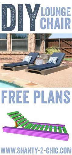 DIY Outdoor Lounge Chair built with only $85 in lumber! Free plans, how-to video and tutorial at www.shanty-2-chic.com Pool chairs, lounge chair, outdoor lounger, outdoor wood lounger, outdoor chaise lounge, outdoor deck chair, outdoor lawn chair