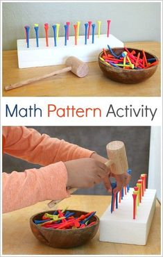 Here's a fun fine motor math activity for preschool and kindergarten- pounding math patterns! In this hands-on math activity, children will create patterns by pounding golf tees into styrofoam pieces! Math Activities For Kids, Math For Kids, Hands On Activities, Kids Learning, Creative Curriculum Preschool, Kinesthetic Learning, Steam Activities, Patterning Kindergarten, Kindergarten Math