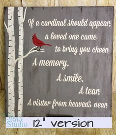 """Cardinal, When a Cardinal Appears in Your Yard Sign, If a Cardinal Appears - Hand-painted 12"""" by EllensStudio on Etsy"""