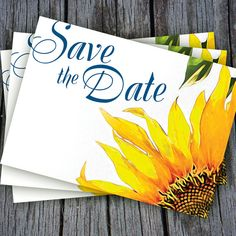 Sunflower Save The Date Postcard Template in Blue and Yellow by VG Invites. Weddings and anniversary parties.Pin it now, come back later. $10.00
