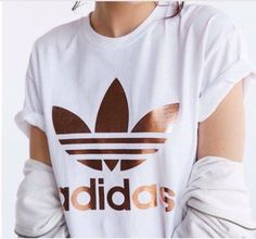 Shirt: adidas, white, white and gold, t-shirt, copper, white t-shirt, t-shirt, rose gold - Wheretoget