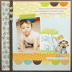 like the layout (half circles) & colour combo.  monkeys are cute, too busy combined w main layout...  use as two separate page layout